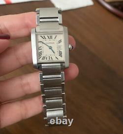 100% Authentic Cartier Tank Francaise Stainless Steel Medium Quartz with Date