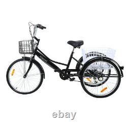 24 Inch 7 Speed Adult Tricycle Cruiser Bike Freight Bicycle With Shopping Basket