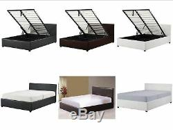 4ft Small Double Ottoman Storage Bed Black Brown White With Mattress Option