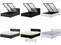 4ft6 Double Ottoman Storage Bed Black Brown White With Mattress Option New