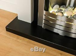 Adam Fireplace Suite Black and White with Electric Fire in Brushed Steel 39 Inch
