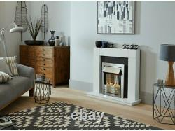 Adam Malmo Fireplace in Pure White Black w Helios Electric Fire Brushed Steel