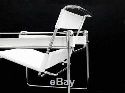 Armchair wassily white o black Marcel Breuer leather steel skin real design