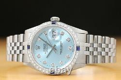 Authentic Mens Rolex Datejust Ice Blue Diamond 18k White Gold & Steel Watch