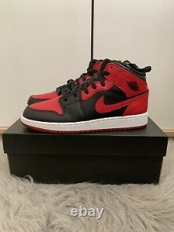 Brand New Nike Air Jordan 1 MID Banned Gs 2020 (gym Red/black/white) Uk Size 6