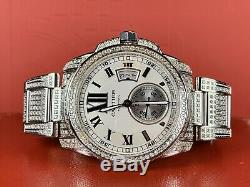 Cartier Calibre Men's Steel Watch 42mm Iced Out 10ct Genuine Diamonds Ref 3389