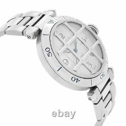Cartier Pasha Steel Silver Arabic Guilloche Dial Automatic Mens Watch 2379