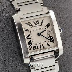 Cartier Stainless Steel Midsize Women's Tank Francaise Watch 2465 with Date