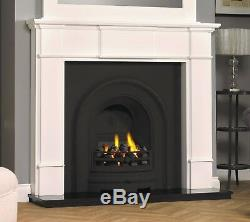 Cast Iron Black Granite White Surround Coal Fire Burner Fireplace Suite Gas