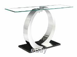 Console Table Side Hall Table Clear Glass Rectangle Top Steel Frame Black Base