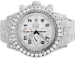 Custom Mens Breitling A13370 Super Avenger XL 52MM S. Steel with Diamonds 31.5 Ct
