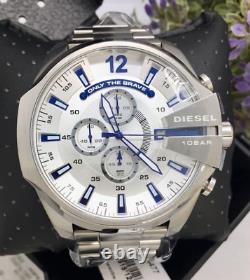 Diesel Mega Chief Silver Stainless Steel Chronograph Watch DZ4477 SHIPS TODAY