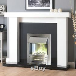 Electric White Black Silver Pebble Surround Fire Fireplace Suite Large Big 54