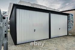 Garage 6mx6m 20ft x 20ft Colors White and Black matt+wicket on the left