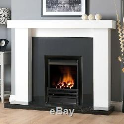 Gas White Surround Wall Black Granite Stone Black Fire Fireplace Suite Large 54