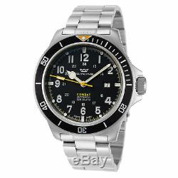 Glycine Men's Combat Sub GL0255 46mm Black Yellow Dial Stainless Steel Watch