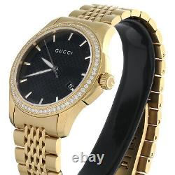 Gucci Ya126402 Diamond Watch Black Dial 38mm Stainless Steel Gold PVD 1.75 Ct