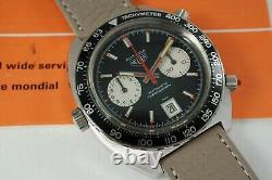 HEUER 1163 V VICEROY AUTAVIA CHRONOGRAPH STAINLESS STEEL with PAPERS DATES 1972