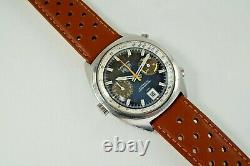 Heuer 1153 Carrera Chronograph Automatic Stainless Steel Tropical Dial C. 1970's