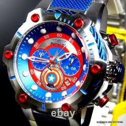 Invicta Marvel Captain America Bolt 51mm Steel Limited Ed Chronograph Watch New