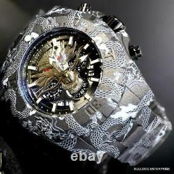 Invicta Pro Diver Dragon Hydroplated Steel 52mm Gray Black Chronograph Watch New