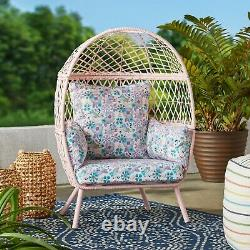 Kids Indoor Outdoor Egg Style Chair Rattan Wicker Furniture Reading Cushion Seat