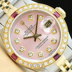 Ladies Rolex Datejust 18k Yellow Gold/ss Pink Ruby Diamond Stainless Steel Watch