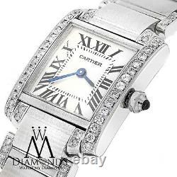 Ladies SS Cartier Tank W51008Q3 with Natural Diamonds Stainless Steel Watch