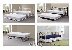 Memphis Metal Guest Day Bed with Pull out Trundle (Optional) Black or Ivory