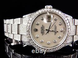 Mens Excellent Rolex Datejust 16014 Oyster Stainless Steel Diamond Watch 9.5 Ct