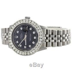 Mens Rolex 36mm DateJust Diamond Watch Jubilee Steel Band Black Dial 3.70 CT