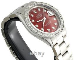 Mens Rolex 36mm DateJust Diamond Watch Oyster Steel Band Custom Red Dial 2 CT