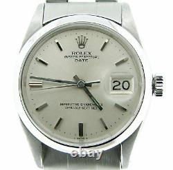 Mens Rolex Date Stainless Steel Watch Oyster Rivet Band Silver Dial Vintage 1500