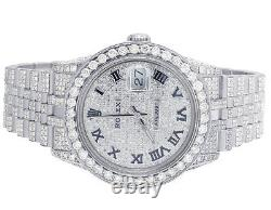 Mens Rolex Datejust 36MM 16014 S. Steel Iced Pave Dial Diamond Watch 14.75 Ct