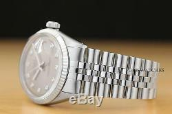 Mens Rolex Datejust Gray Diamond Dial 18k White Gold & Stainless Steel Watch