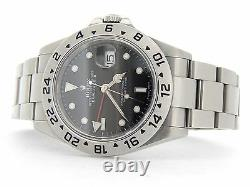 Mens Rolex SS Stainless Steel Explorer II Date SEL No Holes 40mm Black 16570T