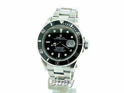 Mens Rolex Submariner Date Sub Stainless Steel Watch with Black Dial & Bezel 16610