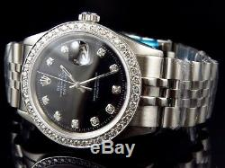 Mens Stainless Steel Rolex Datejust Jubilee Black Dial Diamond Watch with 2.15Ct