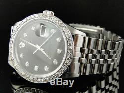 Mens Stainless Steel Rolex Datejust Jubilee Watch with 2.5Ct Diamond Black Dial