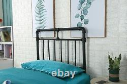 Modern Piped Industrial Style Metal Bed Frame Brand New Black Or White