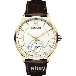 Movado Circa 0660008 Brown Leather Band Steel Case Men's Watch