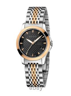New Gucci G-Timeless Black Dial Two Tone Rose Gold Steel YA126512 Ladies Watch