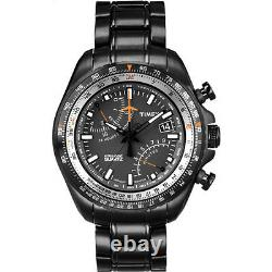 New Tx Timex Intelligent Aviator Fly Back, Black Ion Plated S/steel Watch-t2p103