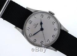 Omega Pilots Wristwatch 1940 Ww2 Cal 30 T2 Sc Military Raf Dial Hands All Steel