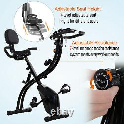 Outsunny Folding Exercise Bike Upright Cycling Magnetic withResistance Band