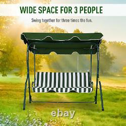 Outsunny Garden Outdoor 3-Person Metal Porch Swing Chair Bench with Canopy Green