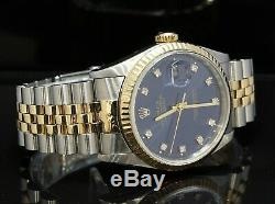 ROLEX Datejust 36 16233 Steel and Gold 1989 Blue Diamond Dot Dial Boxed 36mm