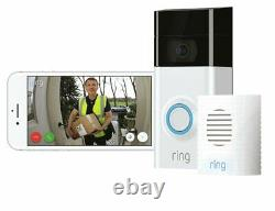 Ring Full HD 1080p Video Doorbell 2 and Chime Bundle White / Black