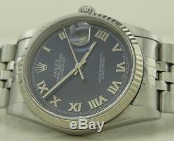 Rolex 16234 Steel & 18k W. Gold 36mm Blue Roman Dial Oyster Perpetual Datejust