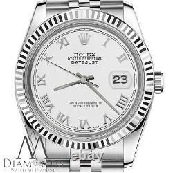 Rolex 36mm Datejust White Color Roman Numeral Dial Stainless Steel & 18k Watch
